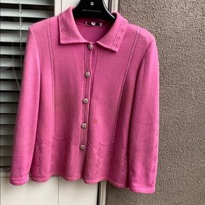 SANDY KNIT MADE IN USA WOMENS PINK JACKET SIZE 12